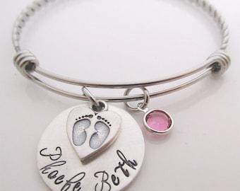 New Mom  Bracelet - Personalized Bracelet - Hand Stamped Bangle Bracelet - Mother's Bracelet - Personalized Jewelry