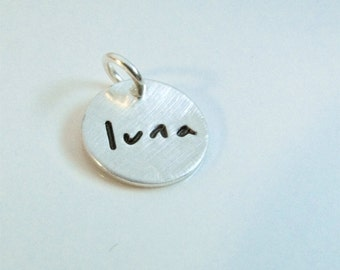 Small BRUSHED hand stamped charm