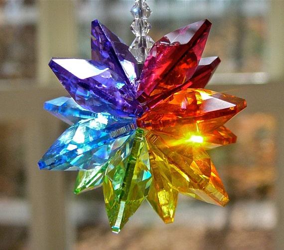 "Rainbow Suncatcher, Swarovski Crystal Suncatcher in Rainbow Colors for Rearview Mirror, Car Charm or Home, Choose From 2 Lengths-""ALEXANDRA"""