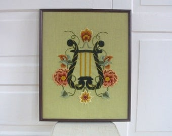 Vintage Embroidery Needlework Harp Flowers Art Hand Sewn Music Instrument Green Pink