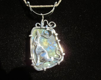 Sterling Silver Brutalist Golden Labradorite Secrets Pendant with Hare and Moon