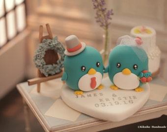 Penguins wedding cake topper