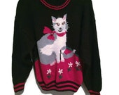 Vintage Cat Sweater, Cute Kitty Bell Vintage Sweater, Chunky Knit Winter Sweater, Cat Lover Red Black Sweater Vintage 80s Sweater Kitten M