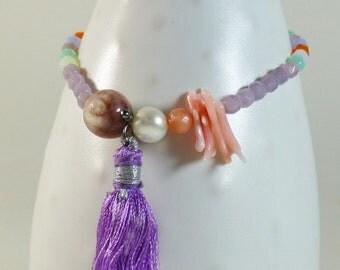Lavender & peach layering stretch bracelet with tassel, angelskin coral,pink beryl, vintage czech glass, carnelian briolette #BeachJewelry