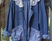 Denim Garden Smock/ Denim Jacket Crochet Collar, Funky Pockets/ Denim Plus Size Tunic/ Sheerfab Funwear