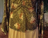 Upcycled Dress/Sheer Leopard Print and Roses/Frilly, Ruffly Sheer Skirt/Fab Funwear
