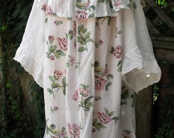 Summer Roses Dress/ Off Shoulder Dress/ One Size Ruffled Gauze Dress/Peasant Style Dress/ Sheerfab Funwear/Romantic Sundress