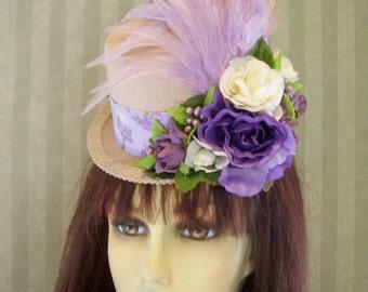 "Kentucky Derby Mini Top Hat, ""Lavender Parfait"" Alice in Wonderland Mad Hatter hat, Tea party Hat Mini hat Fascinator"