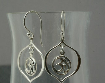 Unique Sterling Silver Ohm Earrings, Aum Earrings, Hindu Jewelry, Sterling Silver Om Earrings, Gift for Yogi, Yoga Jewelry, Om Jewelry