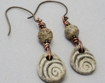 Handmade Brown Ceramic Earrings,  Beige Earrings, Rustic Earrings, Textured Brown Jewelry, Jasper Earrings, Casual Earrings,  Gift for Her