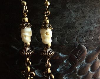 Day of the Dead Earrings Carved Bone Skull Earrings