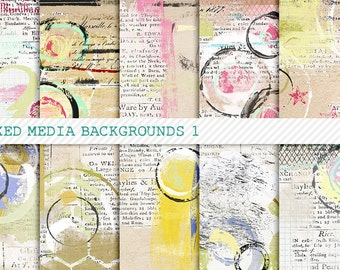 Mixed Up 1 Digital Papers for Art Journaling, Mixed Media & Digital Scrapbooking