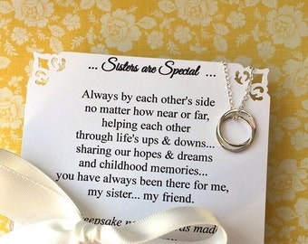 SISTER NECKLACE  Sisters Jewelry Gift for Sister POEM Sterling Silver Interlocking Rings Connected Circles Your Choice of Decorated Gift Box