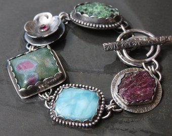 RESERVED for Cheryl oOo zoisite druzy, rhodolite garnet, ruby in fuchsite, larimar, ruby crystal and sterling silver metalwork link bracelet