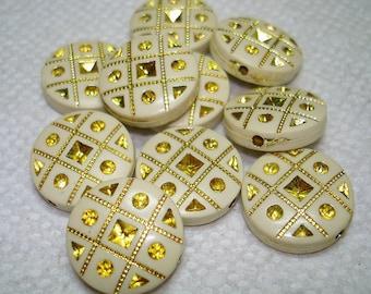 Ivory and Gold Flat Round Acrylic Beads (Qty 10) - B3024