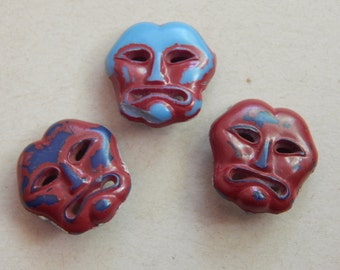 3 Tribal Like Face Buttons - Plastic - Circa 1930's