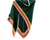 Crochet Triangle Shawl - Hippie Shawl - Granny Shawl - 70's Shawl - Large Shawl Wrap - Retro Shawl