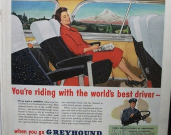 "Trav-B ... 117   ""Greyhound Lines ...""  Magazine Ad - March 1955"