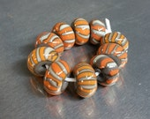 Mango and Grey Glass Beads Set - Handmade Lampwork Glass Beads - SRA, OOAK