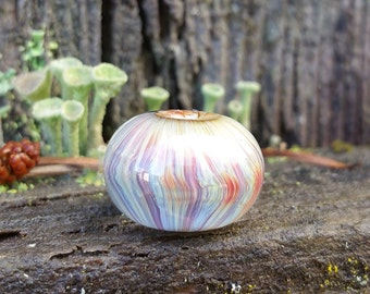 Pleated Lampwork Glass Bead