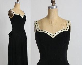 ON SALE 1950s Velvet Dress . Diamond Trim . LBD Black Gown
