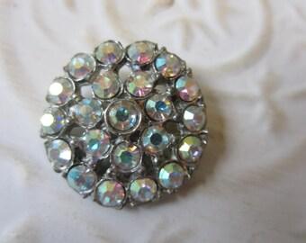 Vintage Button -  1 large beautiful flower design,antique finish metal, rhinestone embellished, 1950's (lot OCT 38B)