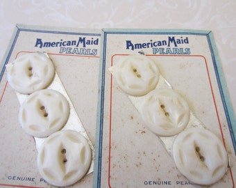 Vintage Buttons - mother of pearl, 6 matching, 1  1/8 inch, on original cards, American Maid (nov 2 -b)