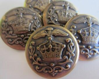 Vintage  Buttons - 5 matching, royal crested crown design, bronze metal (lot no. nov 340b)