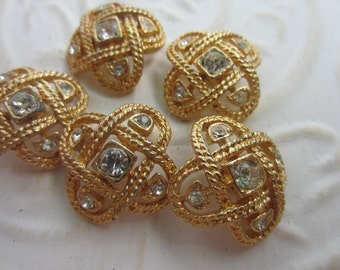 Vintage Buttons - 5 beautiful matching  rhinestone embellished, antique gold metal (apr 7b)