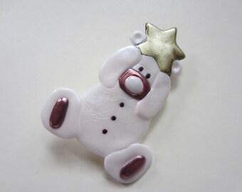 Pink Teddy Bear Pin baby girl with star brooch