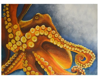 Octopus Gouache / Watercolor Print, wildlife art, sea life art, octopus wall art, octopus artwork, ocean decor, art print, water painting