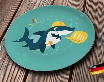 melamine kid's plate shark builder