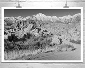 Black and White, Landscape Photography, Fine Art Photography, Sierra Mountains, Desert Print, Road Art, Wall Picture, Country Roads