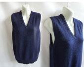 Vintage 50s 100% Cashmere Sweater Size M Navy Blue Vest Rockabilly Preppy 60s