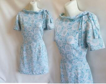 Vintage 60s Dress Size M Blue White Floral Mod Cotton Secretary frock 50s