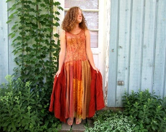M-L Burnt Sienna Butterscotch Bohemian Maxi Tank Top Dress// Reconstructed// Upcycled// emmevielle