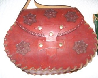 Vintage Tooled Leather Pocketbook with long strap!