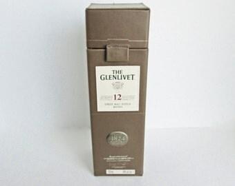 The Glenlivet Leather Look Presentation Box, 12 Year Single Malt Scotch Whisky Bottle Case, Magnetic Lid Closure, Metal Emblem Badge