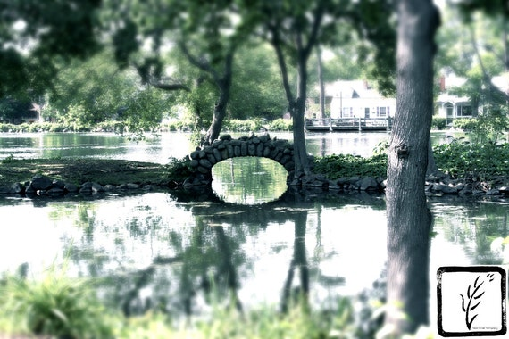 Park, stone bridge, Color Photograph, fine art, photo print, wall art, home decor, nature, haiku, natural, Long Island, New York