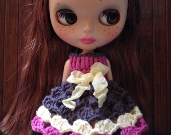 SALE - Neo Blythe Princess Crochet Dress - Charcoal