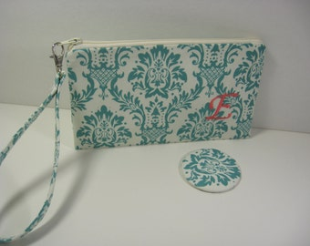 Wristlet, Cosmetic Bag, Bridesmaid Gift, Pocket Mirror - Teal Damask