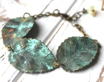 Free shipping. Mossy Leaves. Verdigris Patina Brass Leaf Bracelet.