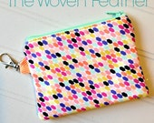 Coin Purse, Zipper Pouch Handmade Mini Pouch with Lobster Claw clasp - modern geometric