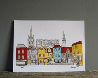 Norwich Cityscape Print A4 - Illustration - Norwich Skyline Print