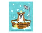 124D Dog Print - English Bulldog in Bubble Bath Wall Art - Bathroom Decor - British Bulldog Print - Bath Art Print - Bulldog Art - Dog Art