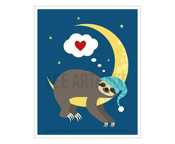 37J Sloth Art Print - Sloth Sleeping on Yellow Moon - Baby Nursery Print - Art for Children - Moon Print - Funny Animal Art - Sloth Gift