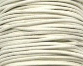 White, Greek Style Round Leather, 1mm, 5 Yards LEWH12