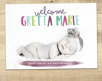 colorful baby birth announcement / photo birth announcement / baby boy birth announcement / girl birth announcement   PRINTABLE announcement