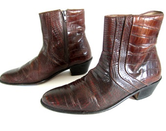vintage 1980s faux crocodile whiskey brown leather BEATLE boots western ankle zip up chelsea STACY adams mens 7 womens 9 rock n roll biker
