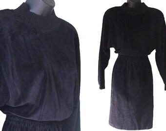 80s 90s Black Velour Liz Claiborne Sport Dress S M NWT
